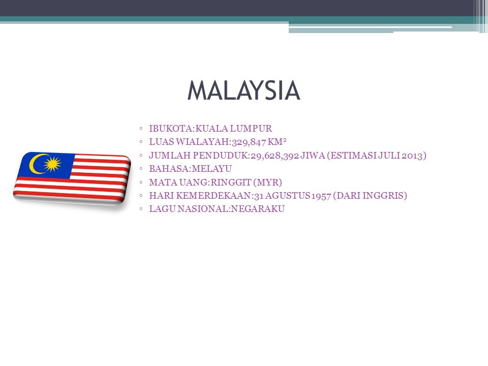 MALAYSIA ◦IBUKOTA:KUALA LUMPUR ◦LUAS WIALAYAH:329,847 KM 2 ◦JUMLAH PENDUDUK:29,628,392 JIWA (ESTIMASI JULI 2013) ◦BAHASA:MELAYU ◦MATA UANG:RINGGIT (MY