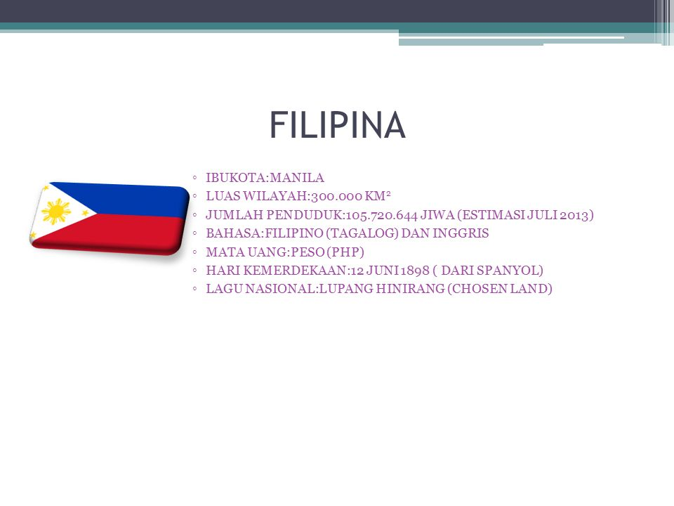 FILIPINA ◦IBUKOTA:MANILA ◦LUAS WILAYAH:300.000 KM 2 ◦JUMLAH PENDUDUK:105.720.644 JIWA (ESTIMASI JULI 2013) ◦BAHASA:FILIPINO (TAGALOG) DAN INGGRIS ◦MAT
