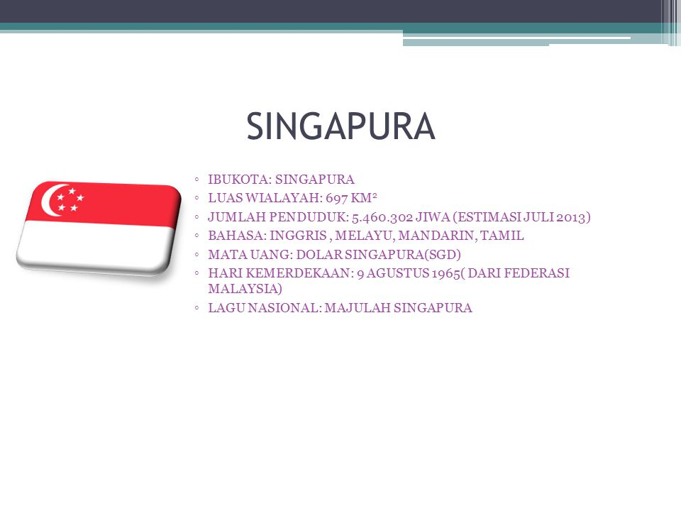 SINGAPURA ◦IBUKOTA: SINGAPURA ◦LUAS WIALAYAH: 697 KM 2 ◦JUMLAH PENDUDUK: 5.460.302 JIWA (ESTIMASI JULI 2013) ◦BAHASA: INGGRIS, MELAYU, MANDARIN, TAMIL