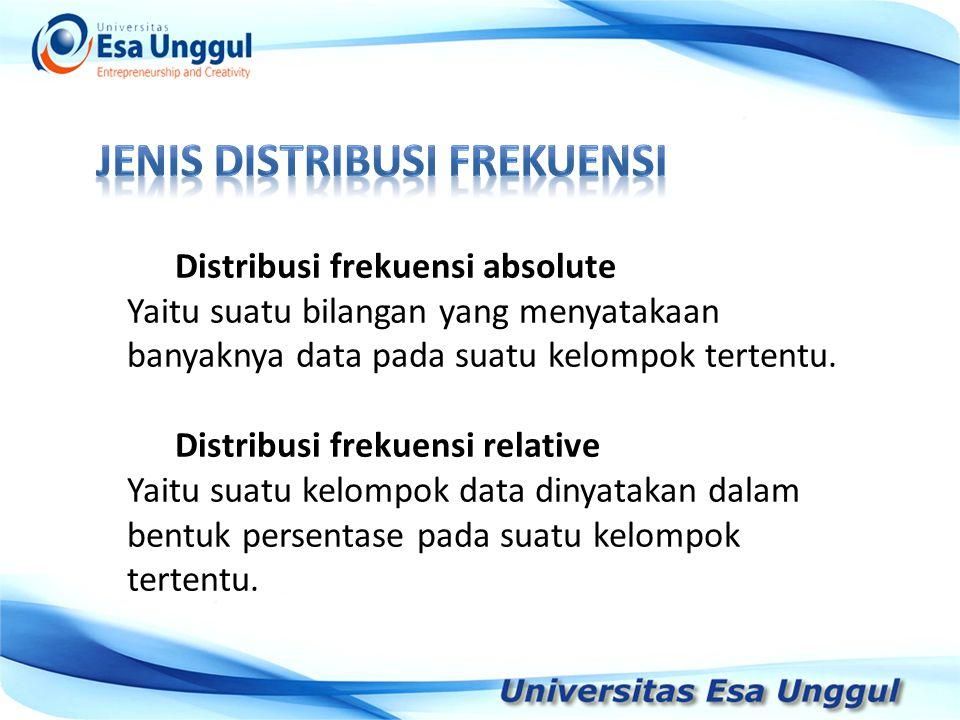 Distribusi frekuensi absolute Yaitu suatu bilangan yang menyatakaan banyaknya data pada suatu kelompok tertentu.