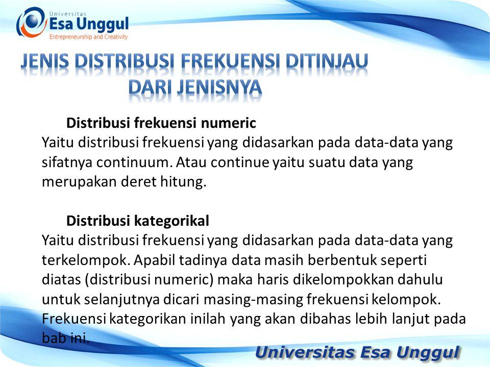 Distribusi frekuensi numeric Yaitu distribusi frekuensi yang didasarkan pada data-data yang sifatnya continuum.