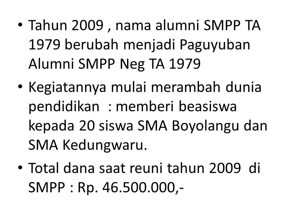 Tahun 2009, nama alumni SMPP TA 1979 berubah menjadi Paguyuban Alumni SMPP Neg TA 1979 Kegiatannya mulai merambah dunia pendidikan : memberi beasiswa