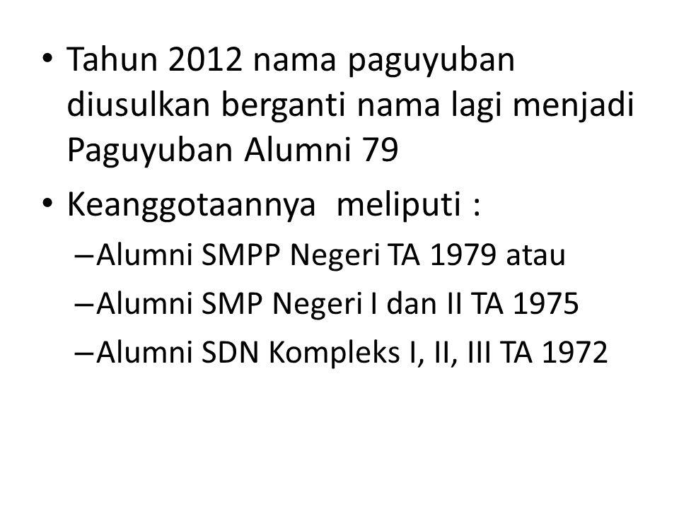 Tahun 2012 nama paguyuban diusulkan berganti nama lagi menjadi Paguyuban Alumni 79 Keanggotaannya meliputi : – Alumni SMPP Negeri TA 1979 atau – Alumn