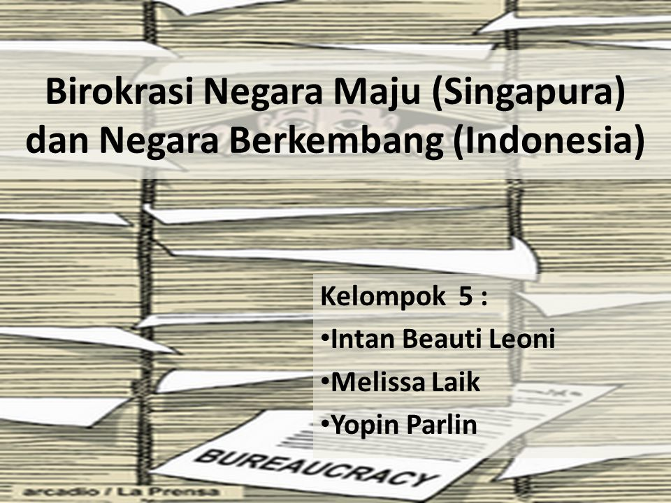 Birokrasi Negara Maju (Singapura) dan Negara Berkembang (Indonesia) Kelompok 5 : Intan Beauti Leoni Melissa Laik Yopin Parlin