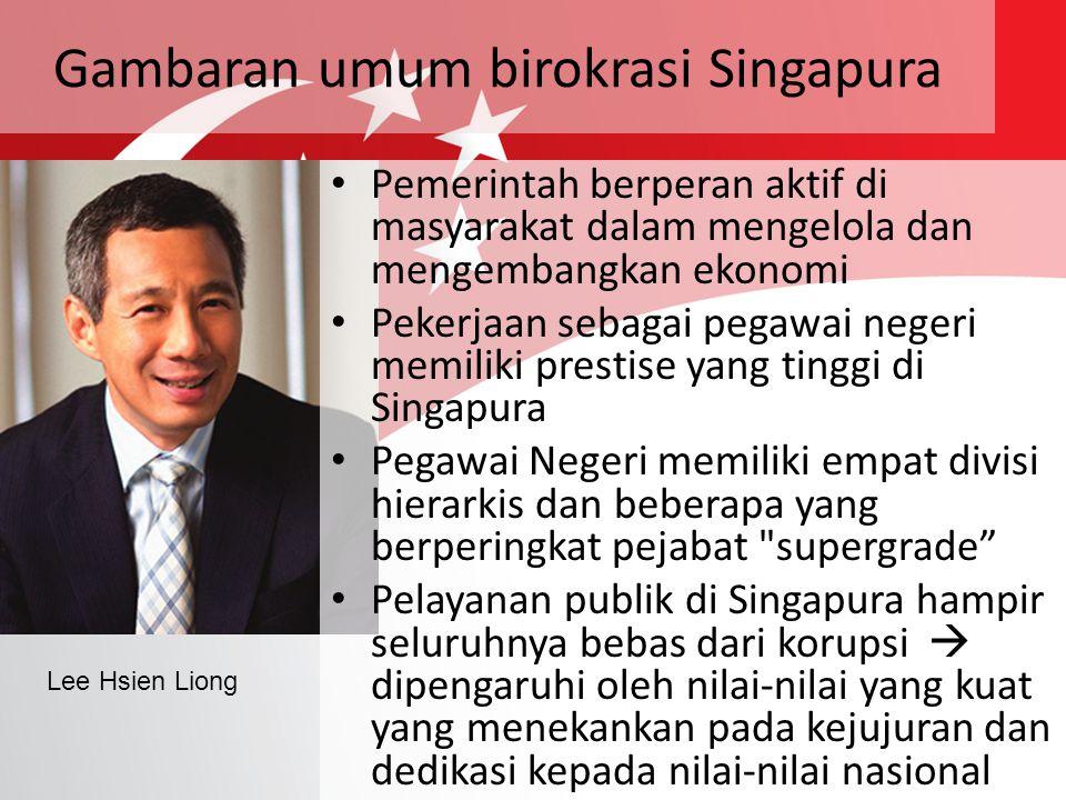 Gambaran umum birokrasi Singapura Pemerintah berperan aktif di masyarakat dalam mengelola dan mengembangkan ekonomi Pekerjaan sebagai pegawai negeri m