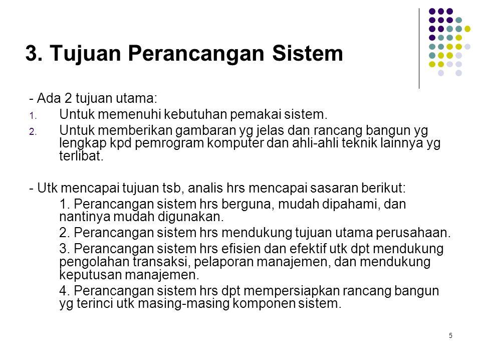 5 3. Tujuan Perancangan Sistem - Ada 2 tujuan utama: 1. Untuk memenuhi kebutuhan pemakai sistem. 2. Untuk memberikan gambaran yg jelas dan rancang ban