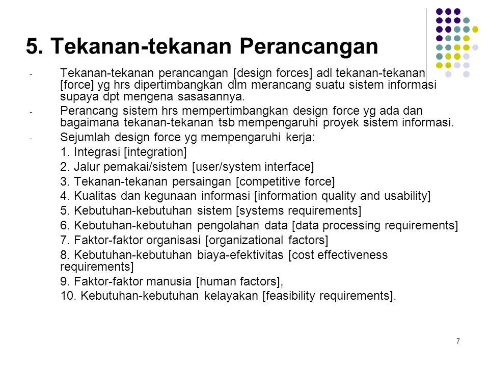 7 5. Tekanan-tekanan Perancangan - Tekanan-tekanan perancangan [design forces] adl tekanan-tekanan [force] yg hrs dipertimbangkan dlm merancang suatu