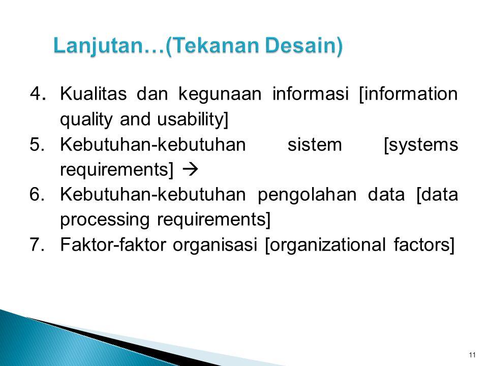 4. Kualitas dan kegunaan informasi [information quality and usability] 5.Kebutuhan-kebutuhan sistem [systems requirements]  6.Kebutuhan-kebutuhan pen