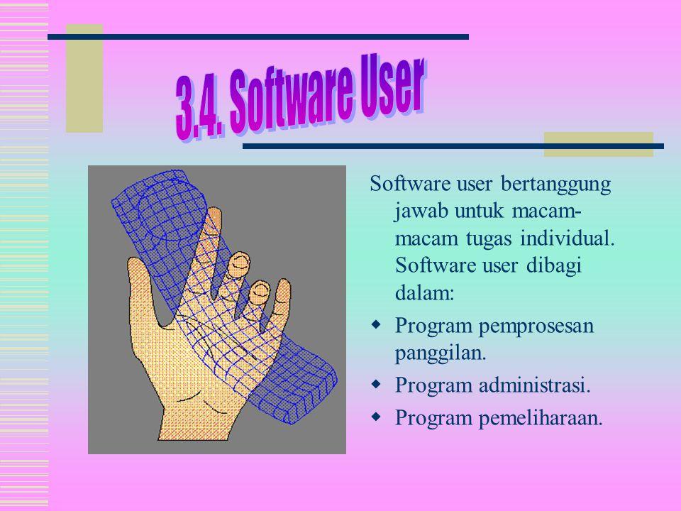 Software user bertanggung jawab untuk macam- macam tugas individual.