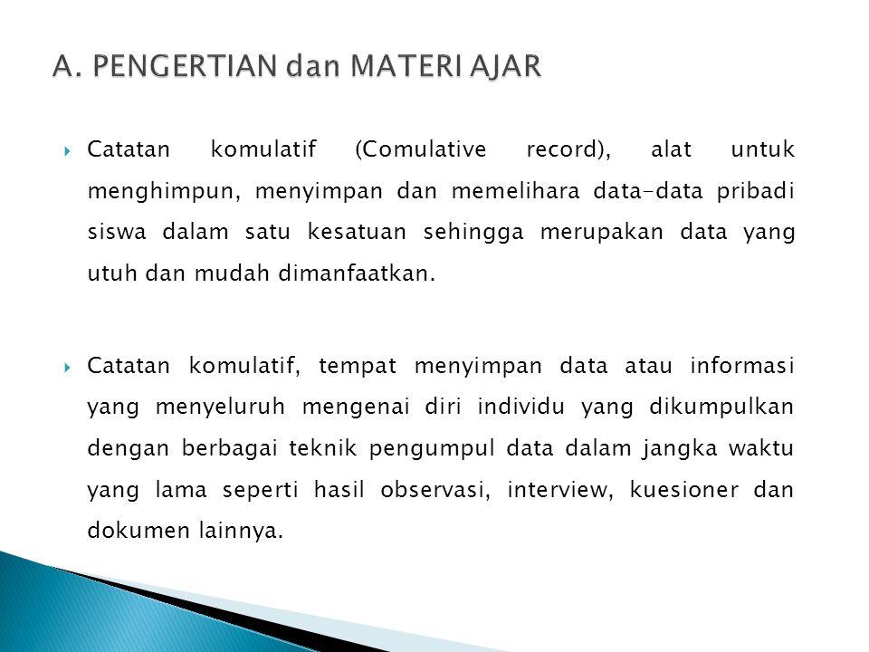  Catatan komulatif (Comulative record), alat untuk menghimpun, menyimpan dan memelihara data-data pribadi siswa dalam satu kesatuan sehingga merupaka