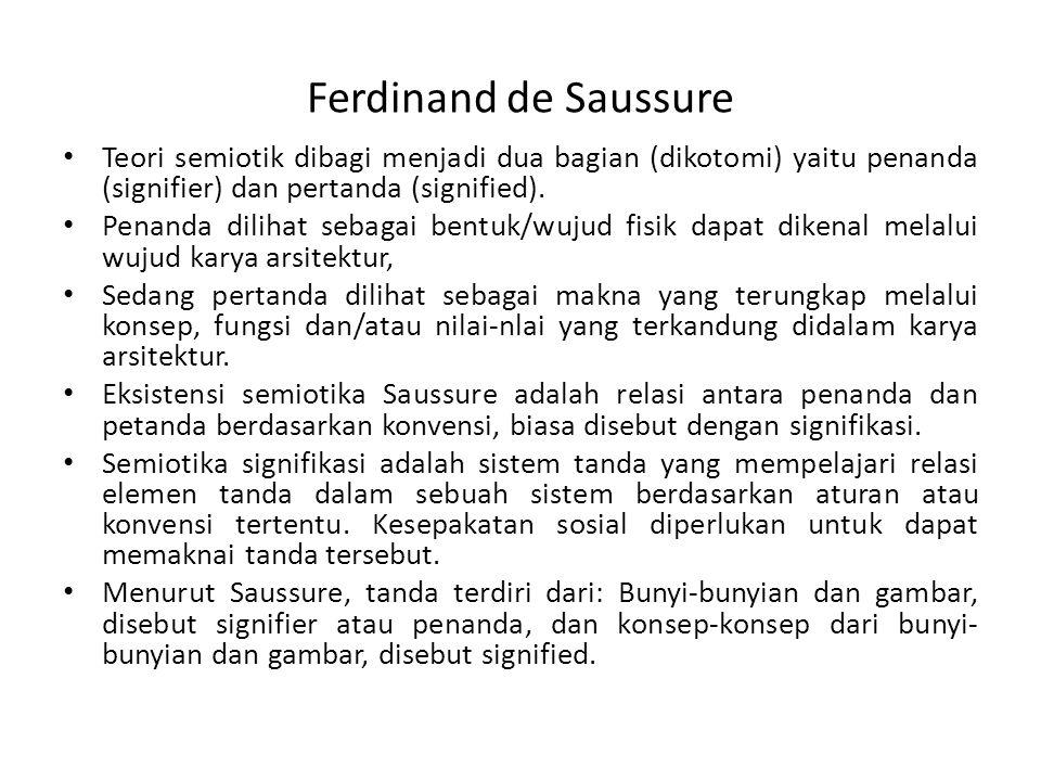 Ferdinand de Saussure Teori semiotik dibagi menjadi dua bagian (dikotomi) yaitu penanda (signifier) dan pertanda (signified). Penanda dilihat sebagai