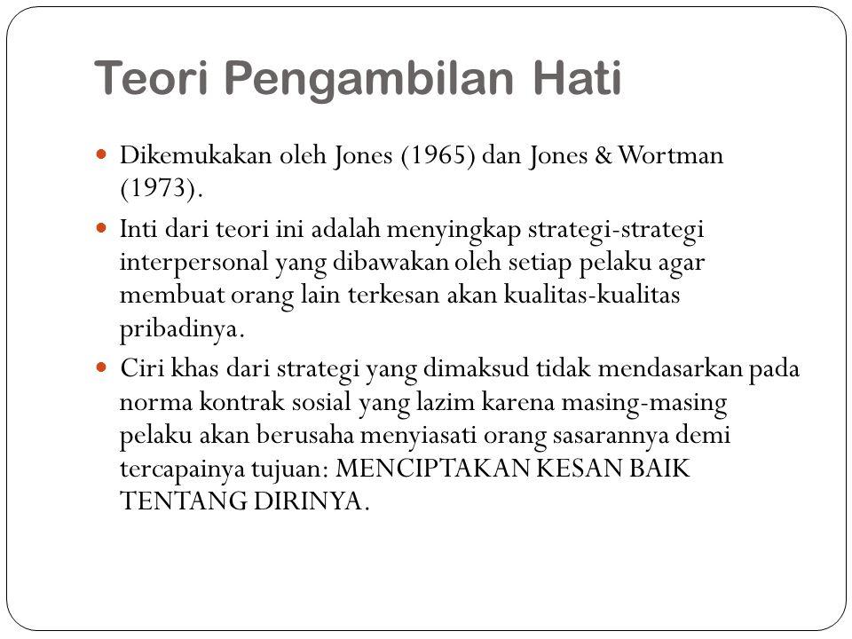 Teori Pengambilan Hati Dikemukakan oleh Jones (1965) dan Jones & Wortman (1973). Inti dari teori ini adalah menyingkap strategi-strategi interpersonal