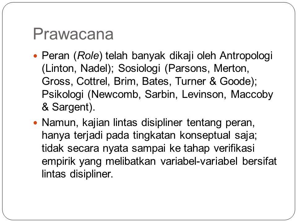 Prawacana Peran (Role) telah banyak dikaji oleh Antropologi (Linton, Nadel); Sosiologi (Parsons, Merton, Gross, Cottrel, Brim, Bates, Turner & Goode);