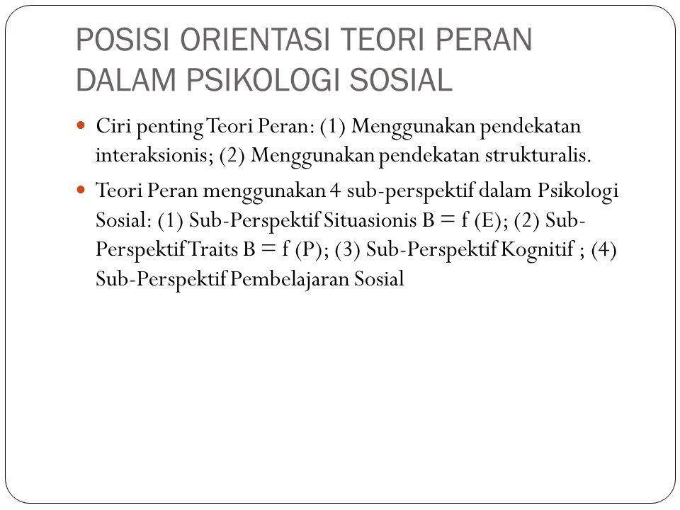 POSISI ORIENTASI TEORI PERAN DALAM PSIKOLOGI SOSIAL Ciri penting Teori Peran: (1) Menggunakan pendekatan interaksionis; (2) Menggunakan pendekatan str