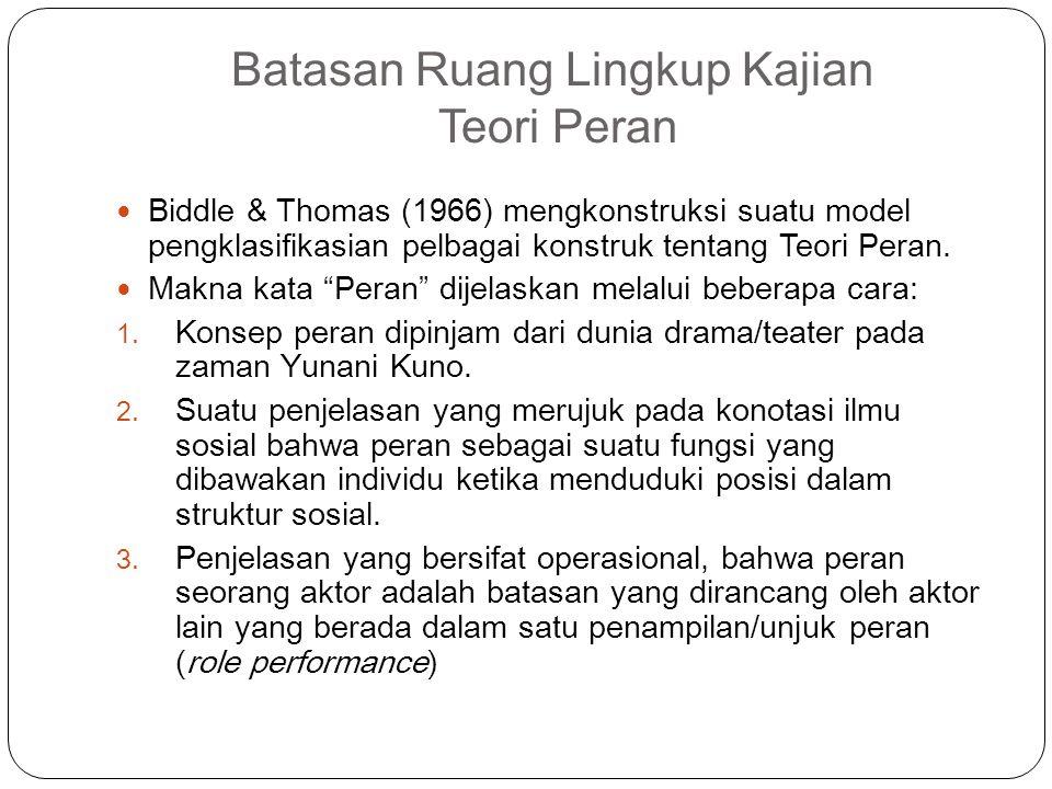 Batasan Ruang Lingkup Kajian Teori Peran Biddle & Thomas (1966) mengkonstruksi suatu model pengklasifikasian pelbagai konstruk tentang Teori Peran. Ma