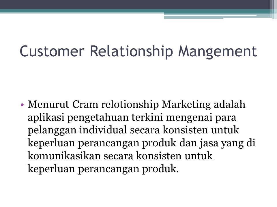 Customer Relationship Mangement Menurut Cram relotionship Marketing adalah aplikasi pengetahuan terkini mengenai para pelanggan individual secara konsisten untuk keperluan perancangan produk dan jasa yang di komunikasikan secara konsisten untuk keperluan perancangan produk.