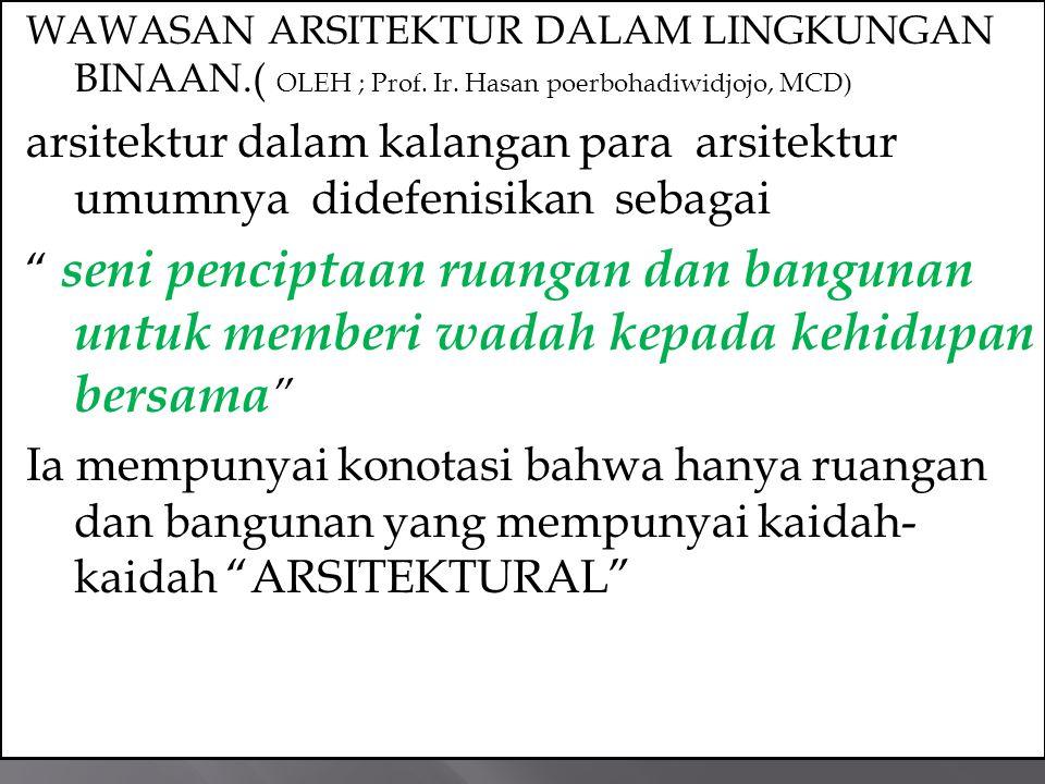 WAWASAN ARSITEKTUR DALAM LINGKUNGAN BINAAN.( OLEH ; Prof.