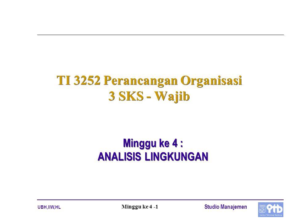UBH,IIW,HL Studio Manajemen Minggu ke 4 -1 TI 3252 Perancangan Organisasi 3 SKS - Wajib Minggu ke 4 : ANALISIS LINGKUNGAN Minggu ke 4 : ANALISIS LINGKUNGAN