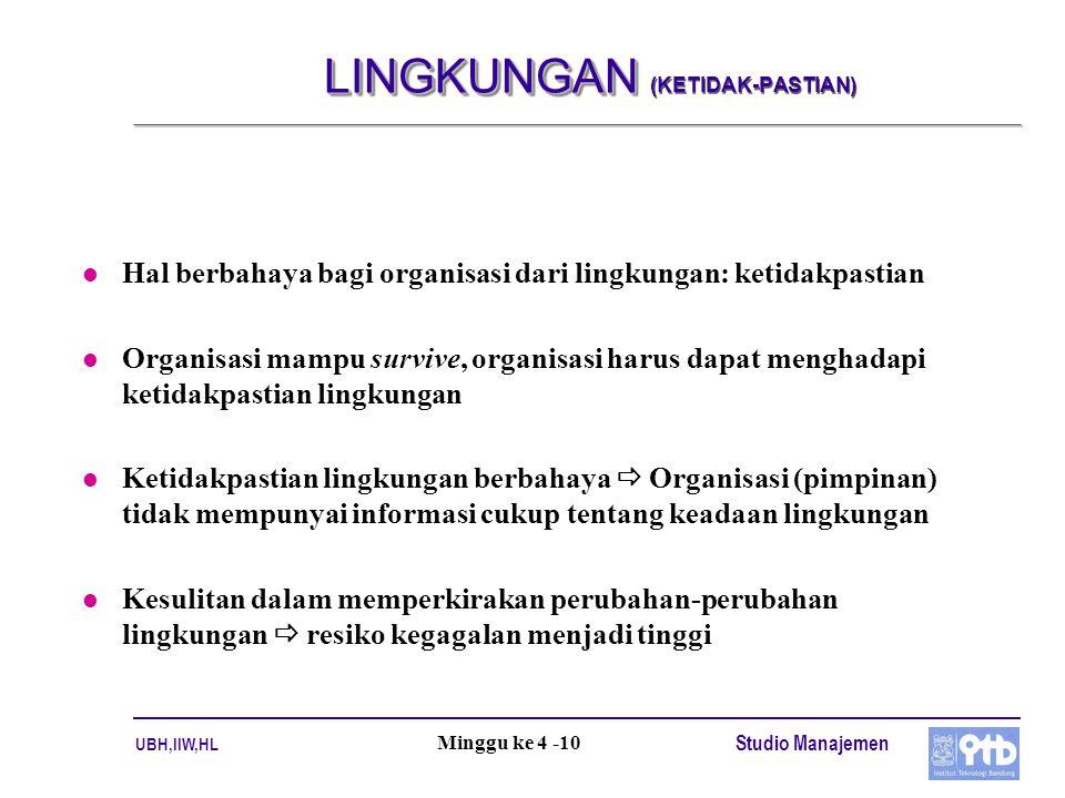 UBH,IIW,HL Studio Manajemen Minggu ke 4 -10 LINGKUNGAN LINGKUNGAN (KETIDAK-PASTIAN) l Hal berbahaya bagi organisasi dari lingkungan: ketidakpastian l