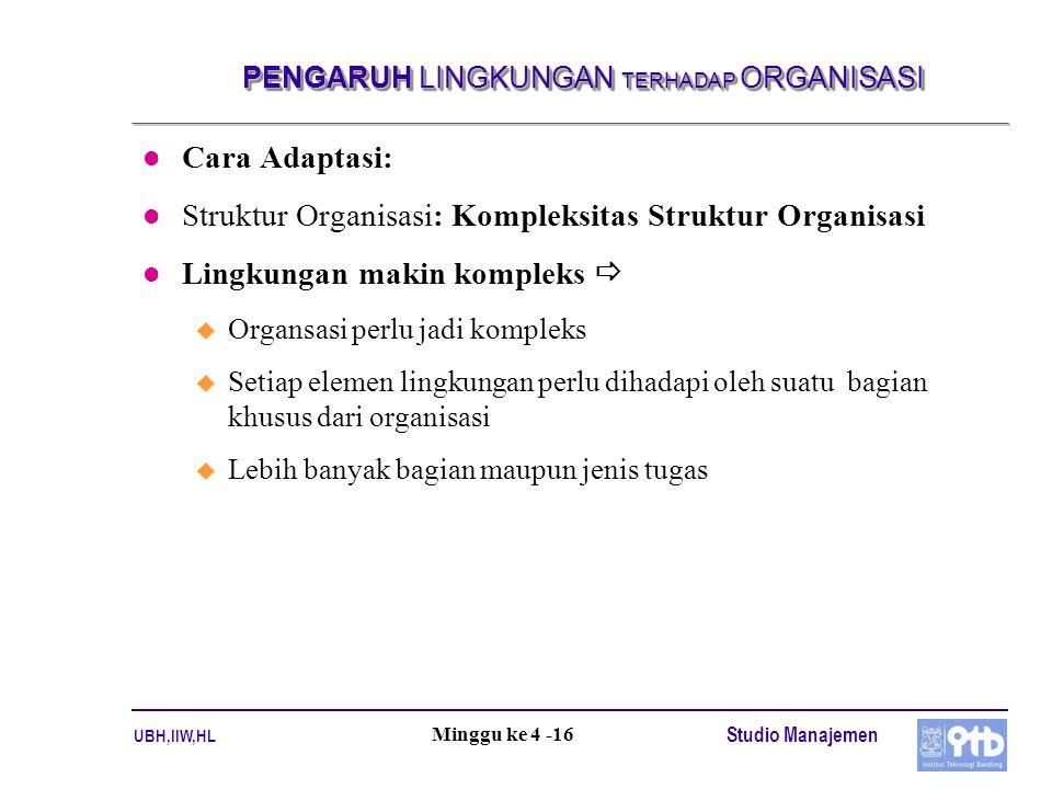 UBH,IIW,HL Studio Manajemen Minggu ke 4 -16 PENGARUH LINGKUNGAN TERHADAP ORGANISASI l Cara Adaptasi: l Struktur Organisasi: Kompleksitas Struktur Orga