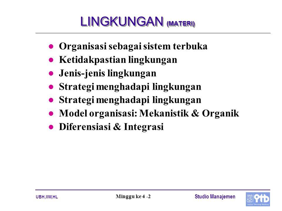 UBH,IIW,HL Studio Manajemen Minggu ke 4 -2 LINGKUNGAN (MATERI) l Organisasi sebagai sistem terbuka l Ketidakpastian lingkungan l Jenis-jenis lingkungan l Strategi menghadapi lingkungan l Model organisasi: Mekanistik & Organik l Diferensiasi & Integrasi