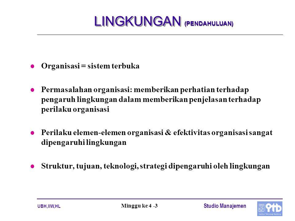 UBH,IIW,HL Studio Manajemen Minggu ke 4 -3 LINGKUNGAN LINGKUNGAN (PENDAHULUAN) l Organisasi = sistem terbuka l Permasalahan organisasi: memberikan per