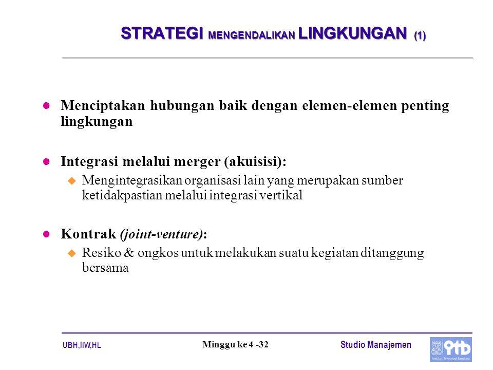 UBH,IIW,HL Studio Manajemen Minggu ke 4 -32 STRATEGI MENGENDALIKAN LINGKUNGAN (1) l Menciptakan hubungan baik dengan elemen-elemen penting lingkungan l Integrasi melalui merger (akuisisi): u Mengintegrasikan organisasi lain yang merupakan sumber ketidakpastian melalui integrasi vertikal l Kontrak (joint-venture): u Resiko & ongkos untuk melakukan suatu kegiatan ditanggung bersama