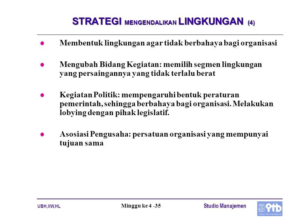 UBH,IIW,HL Studio Manajemen Minggu ke 4 -35 STRATEGI MENGENDALIKAN LINGKUNGAN (4) l Membentuk lingkungan agar tidak berbahaya bagi organisasi l Mengub