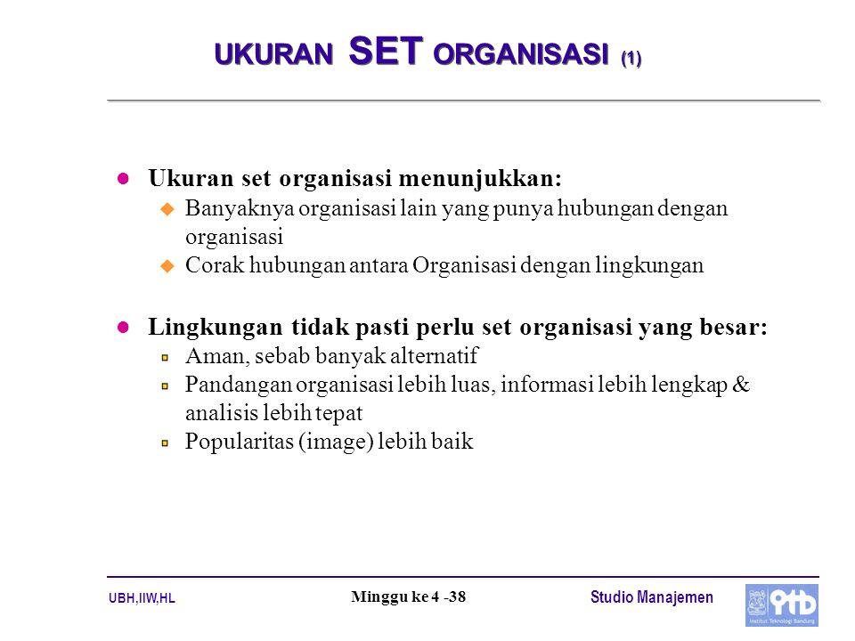 UBH,IIW,HL Studio Manajemen Minggu ke 4 -38 UKURAN SET ORGANISASI (1) l Ukuran set organisasi menunjukkan: u Banyaknya organisasi lain yang punya hubu