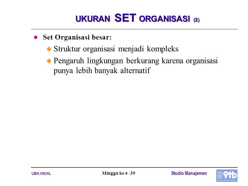 UBH,IIW,HL Studio Manajemen Minggu ke 4 -39 UKURAN SET ORGANISASI (2) l Set Organisasi besar: u Struktur organisasi menjadi kompleks u Pengaruh lingkungan berkurang karena organisasi punya lebih banyak alternatif