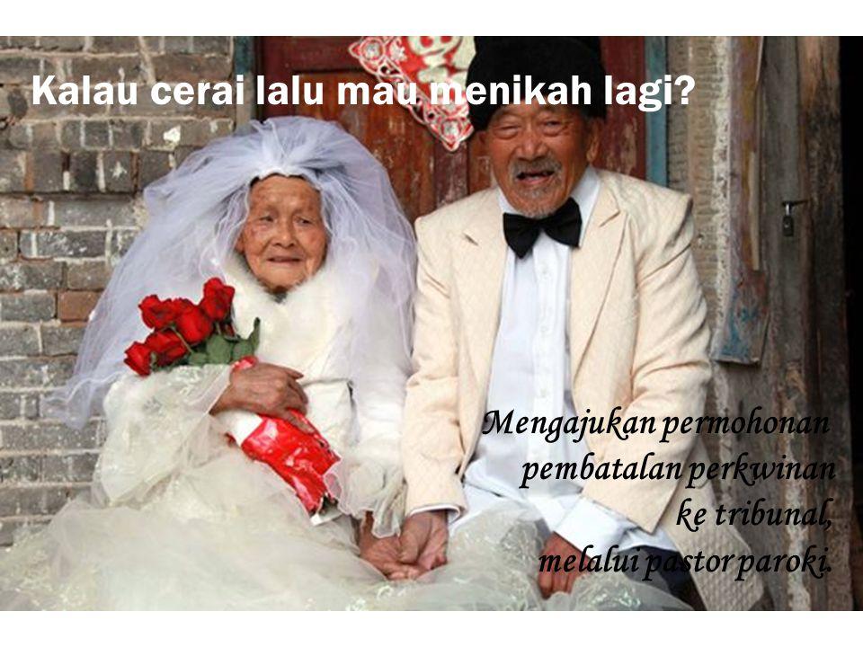 Kalau cerai lalu mau menikah lagi? Mengajukan permohonan pembatalan perkwinan ke tribunal, melalui pastor paroki.