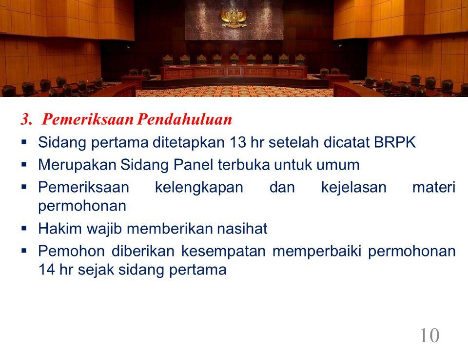 3. Pemeriksaan Pendahuluan  Sidang pertama ditetapkan 13 hr setelah dicatat BRPK  Merupakan Sidang Panel terbuka untuk umum  Pemeriksaan kelengkapa