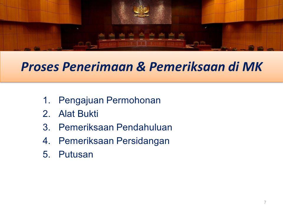 1.Pengajuan Permohonan 2.Alat Bukti 3.Pemeriksaan Pendahuluan 4.Pemeriksaan Persidangan 5.Putusan 7 Proses Penerimaan & Pemeriksaan di MK
