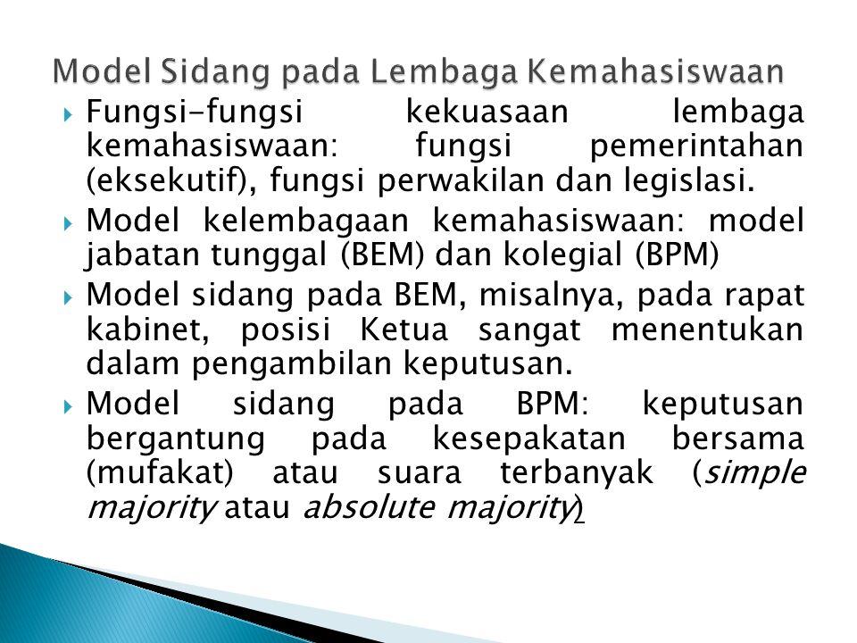  Fungsi-fungsi kekuasaan lembaga kemahasiswaan: fungsi pemerintahan (eksekutif), fungsi perwakilan dan legislasi.  Model kelembagaan kemahasiswaan:
