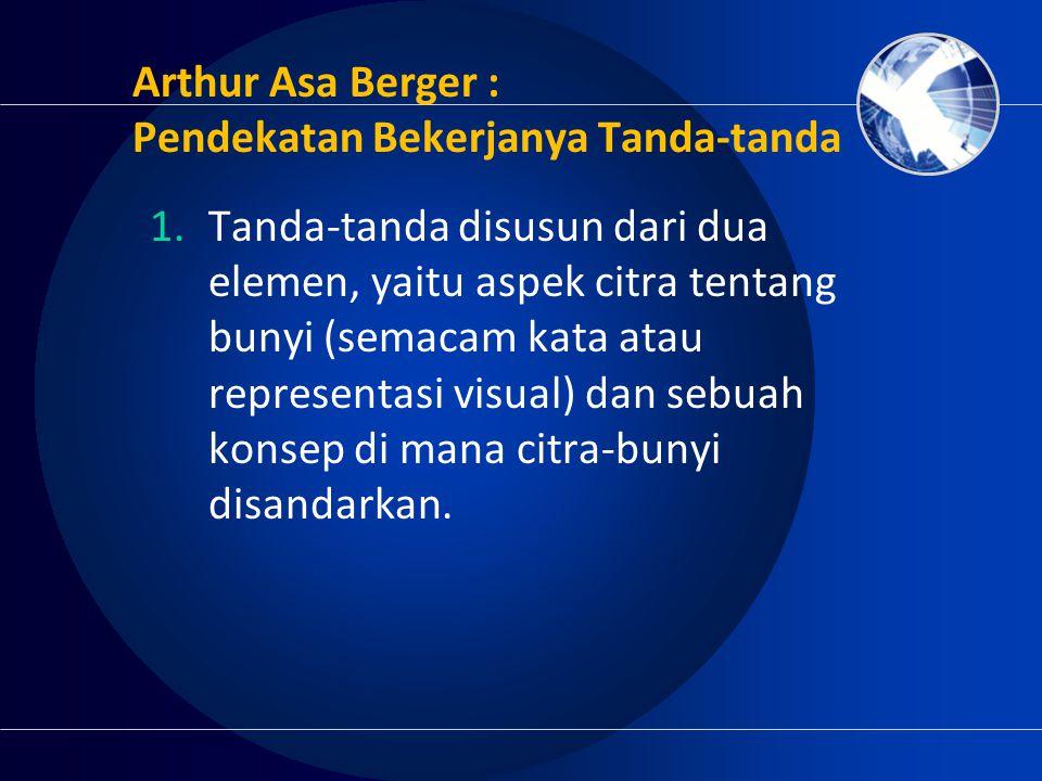 Arthur Asa Berger : Pendekatan Bekerjanya Tanda-tanda 1.Tanda-tanda disusun dari dua elemen, yaitu aspek citra tentang bunyi (semacam kata atau repres
