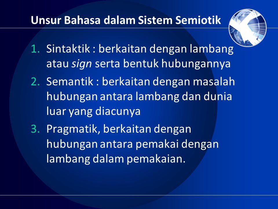 Unsur Bahasa dalam Sistem Semiotik 1.Sintaktik : berkaitan dengan lambang atau sign serta bentuk hubungannya 2.Semantik : berkaitan dengan masalah hub