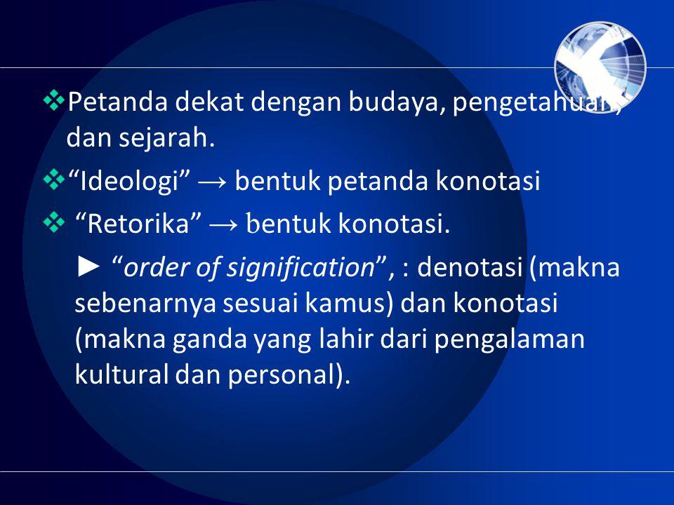 " Petanda dekat dengan budaya, pengetahuan, dan sejarah.  ""Ideologi"" → bentuk petanda konotasi  ""Retorika"" → b entuk konotasi. ► ""order of significa"