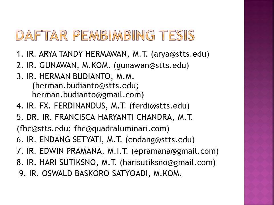 1. IR. ARYA TANDY HERMAWAN, M.T. (arya@stts.edu) 2. IR. GUNAWAN, M.KOM. (gunawan@stts.edu) 3. IR. HERMAN BUDIANTO, M.M. (herman.budianto@stts.edu; her