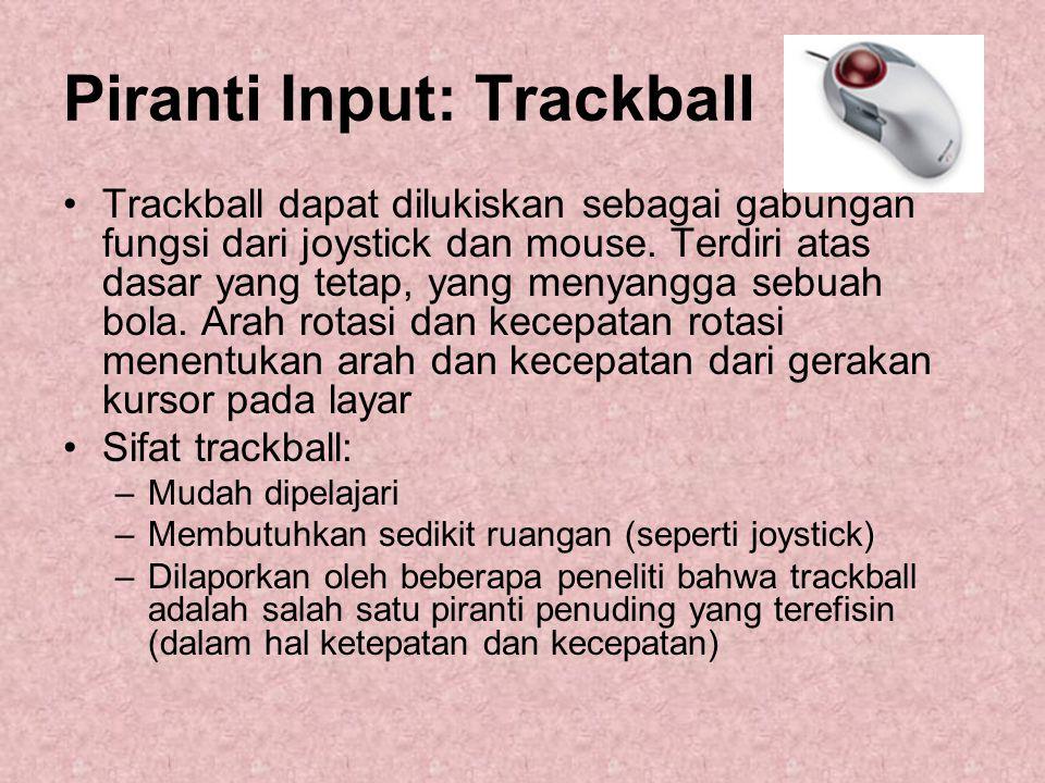 Piranti Input: Trackball Trackball dapat dilukiskan sebagai gabungan fungsi dari joystick dan mouse. Terdiri atas dasar yang tetap, yang menyangga seb