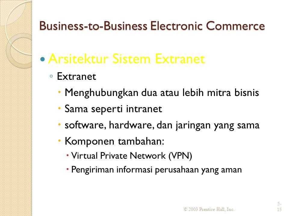 Business-to-Business Electronic Commerce Arsitektur Sistem Extranet ◦ Extranet  Menghubungkan dua atau lebih mitra bisnis  Sama seperti intranet  software, hardware, dan jaringan yang sama  Komponen tambahan:  Virtual Private Network (VPN)  Pengiriman informasi perusahaan yang aman © 2003 Prentice Hall, Inc.