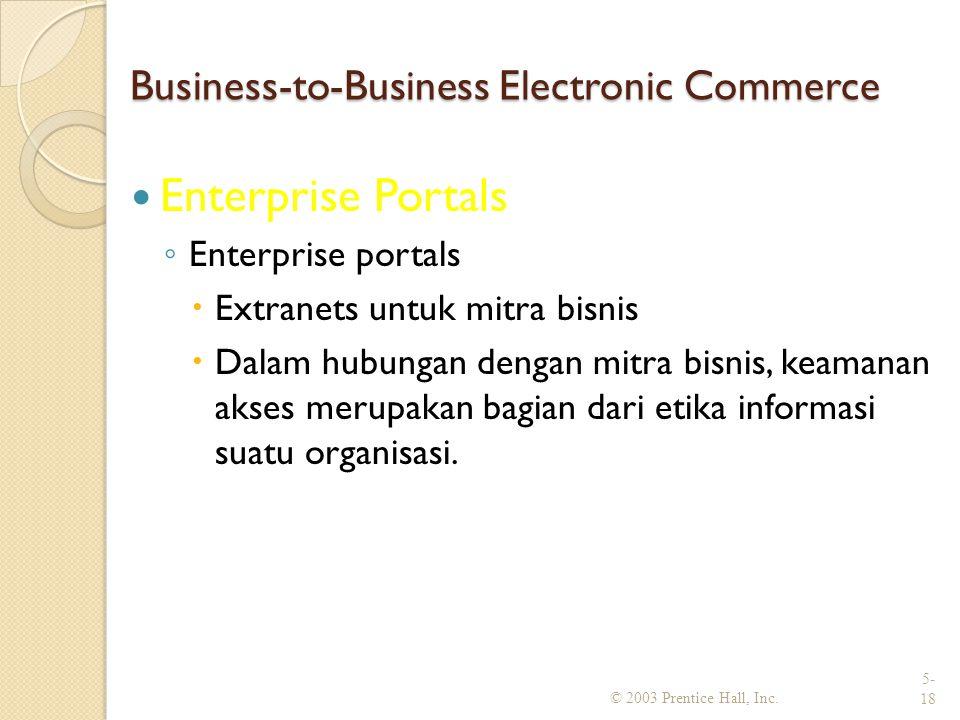 Business-to-Business Electronic Commerce Enterprise Portals ◦ Enterprise portals  Extranets untuk mitra bisnis  Dalam hubungan dengan mitra bisnis, keamanan akses merupakan bagian dari etika informasi suatu organisasi.