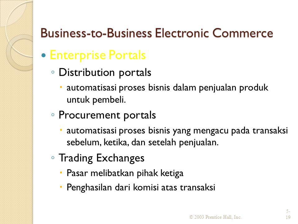 Business-to-Business Electronic Commerce Enterprise Portals ◦ Distribution portals  automatisasi proses bisnis dalam penjualan produk untuk pembeli.