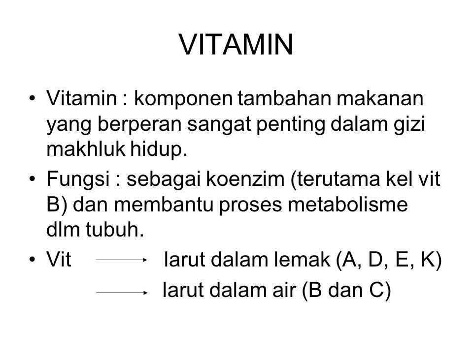 VITAMIN Vitamin : komponen tambahan makanan yang berperan sangat penting dalam gizi makhluk hidup. Fungsi : sebagai koenzim (terutama kel vit B) dan m