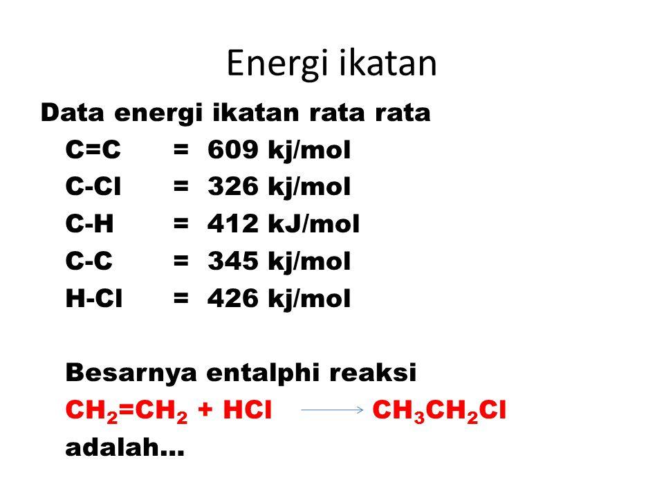 Energi ikatan Data energi ikatan rata rata C=C = 609 kj/mol C-Cl = 326 kj/mol C-H = 412 kJ/mol C-C = 345 kj/mol H-Cl = 426 kj/mol Besarnya entalphi re