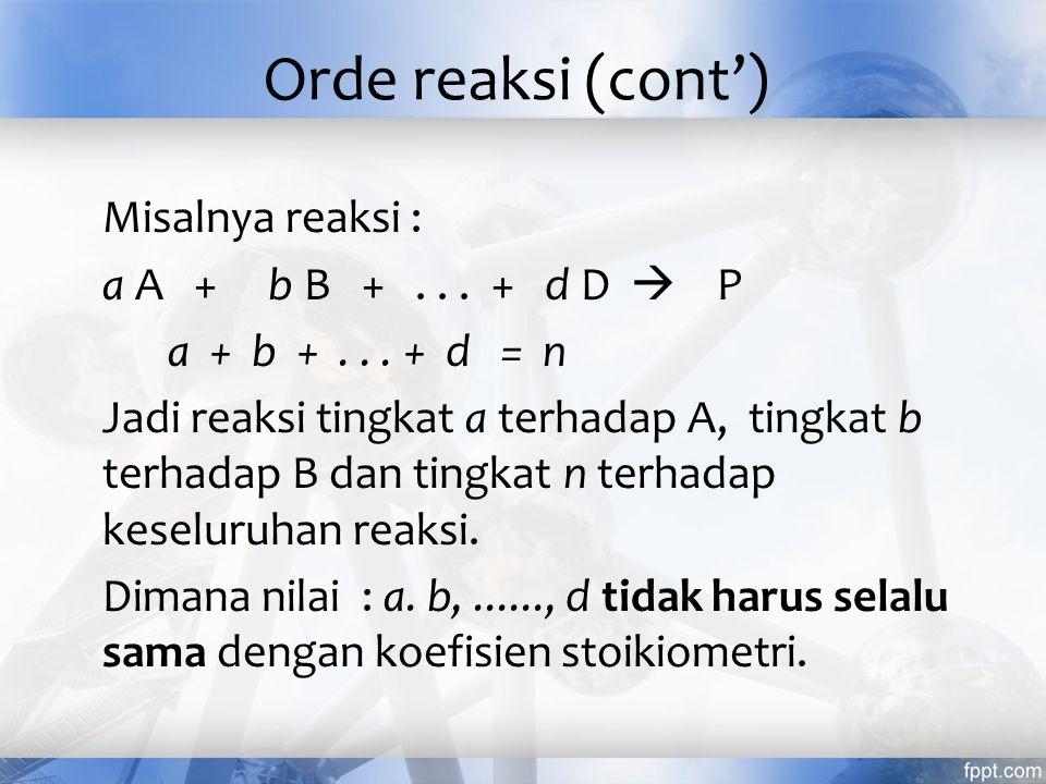Misalnya reaksi : a A + b B +... + d D  P a + b +... + d = n Jadi reaksi tingkat a terhadap A, tingkat b terhadap B dan tingkat n terhadap keseluruha