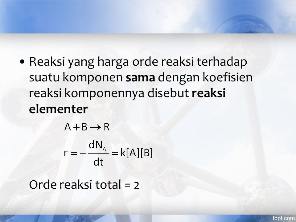 Reaksi yang harga orde reaksi terhadap suatu komponen sama dengan koefisien reaksi komponennya disebut reaksi elementer Orde reaksi total = 2