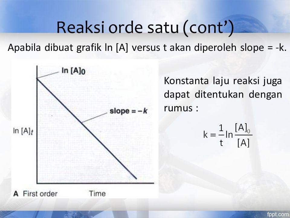 Apabila dibuat grafik ln [A] versus t akan diperoleh slope = -k. Konstanta laju reaksi juga dapat ditentukan dengan rumus : Reaksi orde satu (cont')