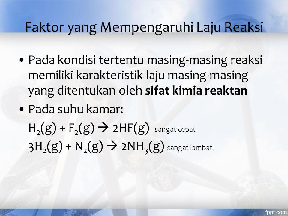 Faktor yang Mempengaruhi Laju Reaksi Pada kondisi tertentu masing-masing reaksi memiliki karakteristik laju masing-masing yang ditentukan oleh sifat k