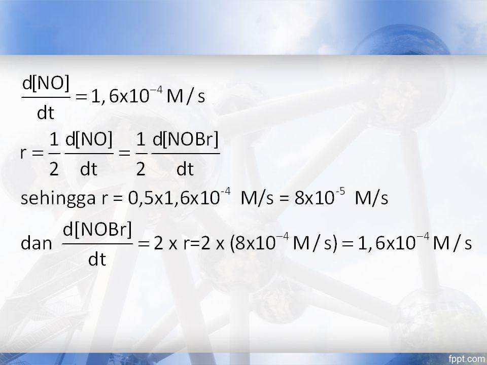 Soal Latihan Karena menghasilkan produk gas non polusi, hidrogen digunakan sebagai bahan bakar roket dan sumber energi masa depan: 2H 2 (g) + O 2 (g)  2H 2 O(g) 1.Tuliskan laju reaksi ini dalam bentuk perubahan [H 2 ], [O 2 ] dan [H 2 O] terhadap waktu 2.Saat O 2 turun pada 0,23 mol/L.s berapa kenaikan terbentuknya H 2 O?