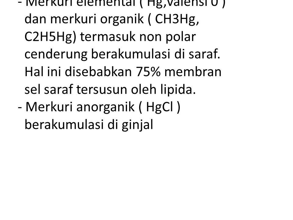 - Merkuri elemental ( Hg,valensi 0 ) dan merkuri organik ( CH3Hg, C2H5Hg) termasuk non polar cenderung berakumulasi di saraf. Hal ini disebabkan 75% m